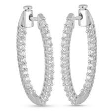 inside out diamond hoop earrings inside out diamond oval hoop earrings mesa jewelers