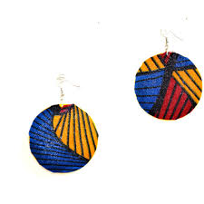 african necklace earrings images Red blue and yellow fabric cover earrings african jewelry jpeg