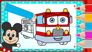color mickey mouse fire truck funny game color
