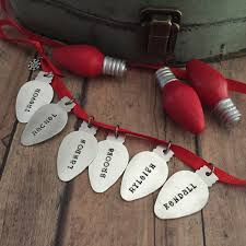 hand stamped christmas ornament large family ornament string