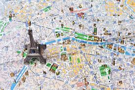 Paris France On A Map by Eiffel Tower On A Map Of Paris Stock Photo Picture And Royalty