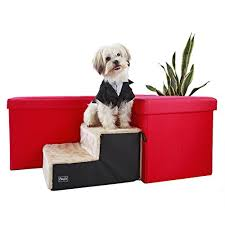 Covered Dog Bed Petsift 2 Steps Dog Stair Easy Climb Fleece Covered Pet Stairs