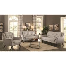 coaster baby natalia mid century modern livingroom set in dove
