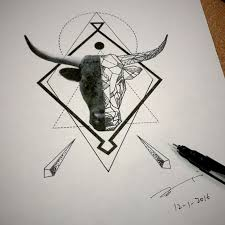 9 best taurus geometric tattoo images on pinterest cow draw and