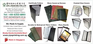 Restaurant Menu Covers Restaurant Menu Covers Singapore Durable U0026 Waterproof Yip U0027s