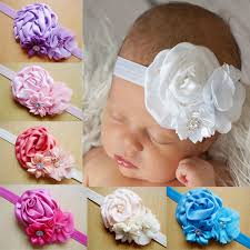 how to make baby flower headbands 2016 newborn satin ribbon roses rhinestone pearl baby diy flowers
