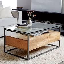 Wood Coffee Table With Storage Box Frame Storage Coffee Table West Elm