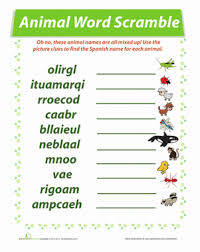 learn animals in spanish worksheets education com