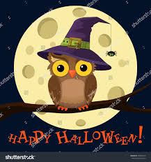 halloween chibi background cartoon owl hat on moon background stock vector 478066126