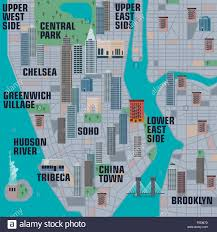Manhattan New York Map by Illustrated Map Of Manhattan New York City Stock Photo Royalty