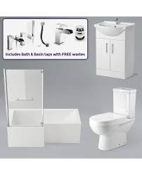 vazer 7 piece bathroom suite l shaped left hand bath toilet