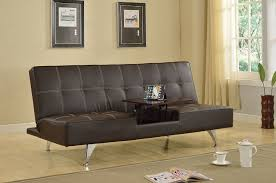 adjustable futon sofa bed derby brown leatherette hidden table