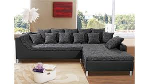 sofa schwarz montego sofa mit ottomane schwarz anthrazit 6 kissen