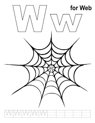 W For Web Coloring Page With Handwriting Practice Download Free Web Coloring Pages