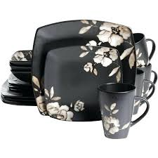 ceramic dinnerware set square shape black color white square
