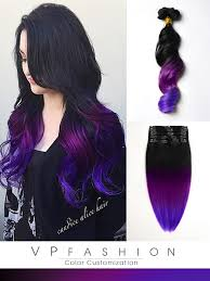 vp hair extensions black to purple mermaid colorful ombre indian remy clip in hair