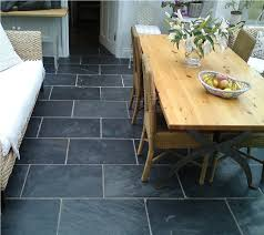 rustic black slate tiles in a classically styled kitchen kitchen