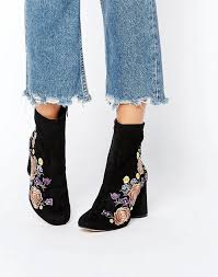 river island womens boots sale fast shipping river island embroidered heeled ankle boot black