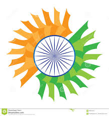 White Blue Orange Flag India Flag Stylized Orange Saffron White Green Blue Chakra Stock