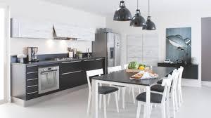 cuisinella cuisine cuisine équipée industrielle avec îlot label bois blanche grise