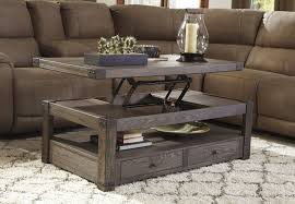 elm veneer rectangular lift top cocktail table in grayish brown