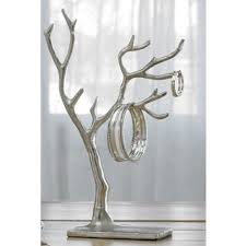 3 accessories gold plated metal tree jewelry holder