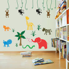 monkey wall decal jungle animal tree decal by stickitdecaldesigns jungle safari wall stickers on a childs playroom wall