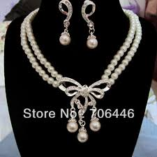 silver pearl necklace set images Buy double strand cream pearl jewelry set silver jpg