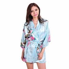 light blue silk dress light blue silk rayon robe dress chinese lady mini nightgown