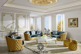 Chippendale Wohnzimmer Schrank Couchgarnitur Set Gold Blau Lionsstar Gmbh