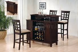 deep cappuccino finish contemporary bar table w wine storage