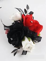 black and white corsage wrist corsage black white and roses home kitchen