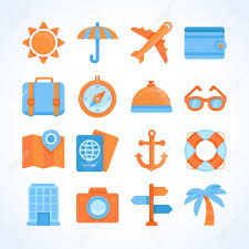 travel symbols images Flat vector icon set of travel symbols travelling and vacation jpg