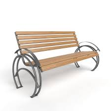 Wood Bench With Metal Legs 3d Model Seat Bench With Arc Metal Legs Cgtrader