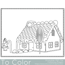this christmas gingerbread house coloring page for adults has a