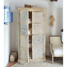 White And Silver Bedroom Wood Carved Armoire With Floral Motifs And Painted In White And
