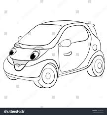 contour blackwhite cartoon merry mini car stock vector 171481520