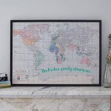 personalised printed fabric world map noticeboard by the crafty