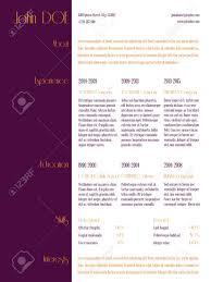 simplistic curriculum vitae cv resume template design with purple