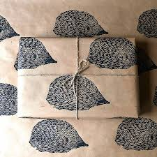 hedgehog wrapping paper lino printed hedgehog wrapping paper by handmade and heritage