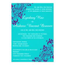 Purple Wedding Invitations Purple And Turquoise Wedding Invitations U0026 Announcements Zazzle