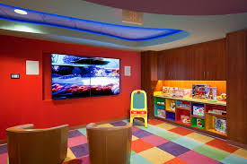 bedroom impressing modern wall shelves for kids rooms interior impressive kids playroom paint ideas with orange sofa and