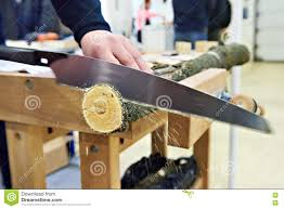 Wood Saw Table Man Sawing Wood Handsaw On Carpentry Table Stock Photo Image