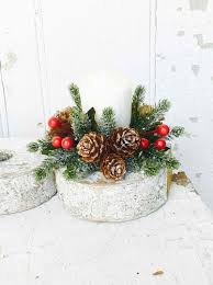 flower candle rings candle ring icy berry with mini pine cone candle ring 1