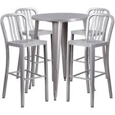 silver metal bar table 2pk 30 rd silver metal in outdoor bar table set w 4 vertical slat