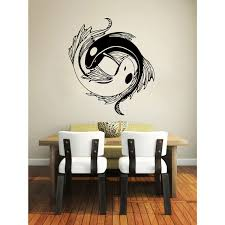 yin yang koi fish black vinyl sticker wall art yin yang koi and yin yang koi fish black vinyl sticker wall art