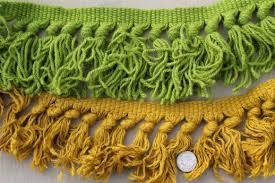 Retro Upholstery Upholstery Trim Lot Wooly Braid W Chunky Yarn Fringe U0026 Tassels