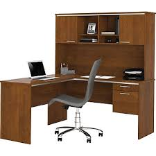 L Shaped Desk Bestar Flare L Shape Desk With Hutch Tuscany Brown Staples