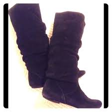 s suede boots size 9 75 steve madden shoes steve madden black suede slouchy