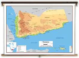 Arizona Elevation Map by Yemen Physical Educational Wall Map From Academia Maps